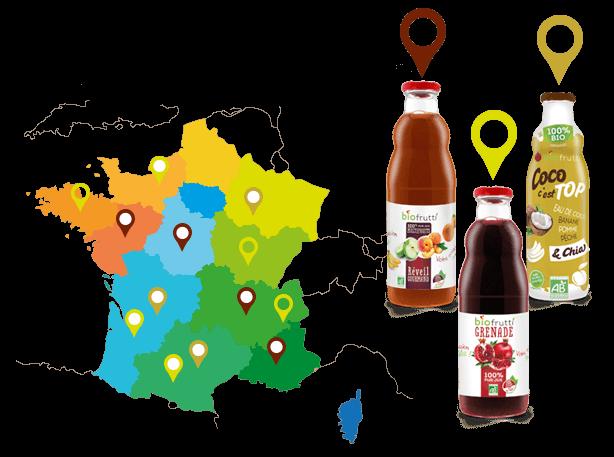 Carte de France géolocalisation des produits Biofrutti
